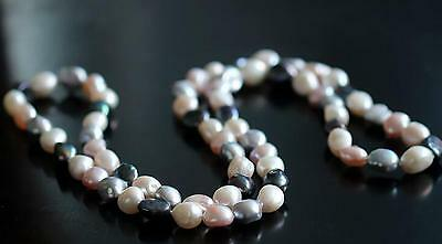 """38""""10-12mm natural south sea white pink black baroque pearl necklace"""