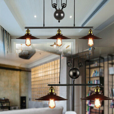 Industrial Retro Vintage Hanging Ceiling Light Pendant Retractable Pulley