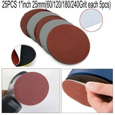 "25x 1"" 25mm Wet Dry Sandpaper Hook Loop 60-240 Grit Sanding Discs Polishing Car"