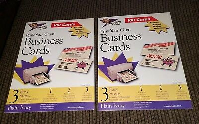 PC papers By Ampad Print Your Own Business Cards (2) Packs of 100 Brand New
