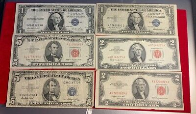 Paper Money Estate Lot Qty 6  - Collection of Old Bills