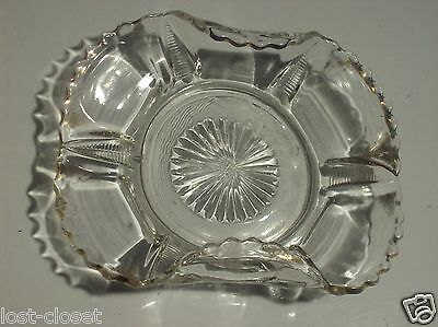 Antique Vintage Clear Glass Gold Trim Bowl Curled Sides Dish Plate