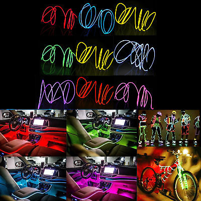 3/4/5M LED Flexible Neon Glow EL Wire Light Tube Cool Wire Rope Home Car