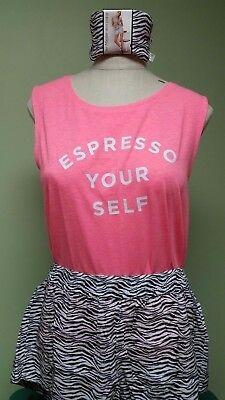 Victorias Secret Mayfair Short Tank PJ Pajama Set Espresso Your Self Zebra L NEW