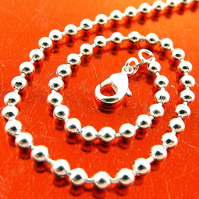 Fsa239 Genuine 925 Sterling Silver S/f Solid Antique Bead Ball Necklace Chain