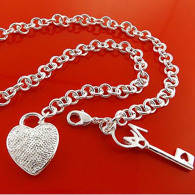 Necklace Chain Real 925 Sterling Silver S/f Antique Heart Key Pendant Fs3A926
