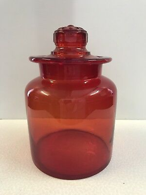 Retro Vintage Large Red Glass Candy Lolly Cookie Apothecary Jar