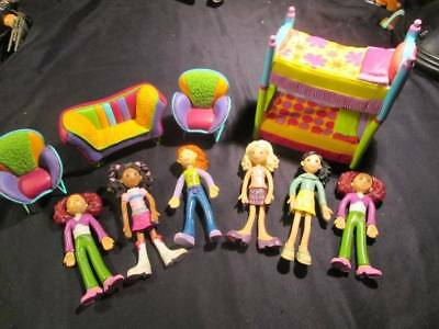 """Groovy Girl Dolls - Lot of Minis with Furniture Bendable 4"""""""