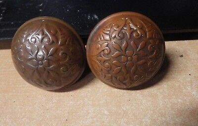 Awesome Pair Of Antique Eastlake Victorian Embossed Brass Bronze Door Knobs Pics