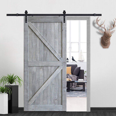 Craftsman Weathered DIY Sliding Barn Door Prefinished Door w/ Artisan Hardware