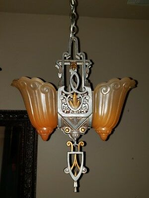 1930's Lincoln Art Deco Chandelier Slip Shade Chandelier Fleur De Lis Shades RTH