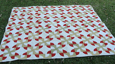 """Fantastic 19th C Drunkards Path variant all hand quilted quilt, 78"""" x 68""""  *"""