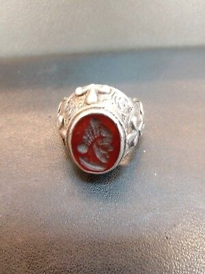 Islamic Design Wonderful Old Silver Ring With Agate Stone King Intagilo  #34