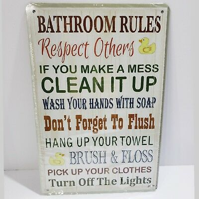 Bathroom Rules Vintage Style Metal Tin Wall Decor Sign NEW White Multicolor