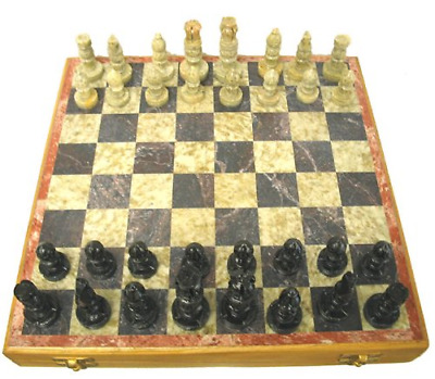 Marble Stone Wooden Chess Box Set 12 x 12 Portable Hand Carve Board Storage Case