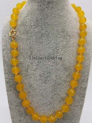 Natural 10mm South Africa Yellow Topaz Faceted Beads Necklace 24 Inch Long