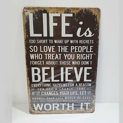 Motivational Vintage Style Metal Tin Wall Decor Sign NEW Gift Brown White Love