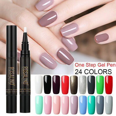 3In1 One Step Gel Nail Varnish Pen UV LED Nail Polish Glitter Easy Use Lacquer