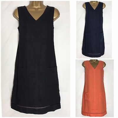 Next Linen Blend Pocket Tunic/Shift Dress 3 Colours & Length Size 8 - 26 (n-51h)