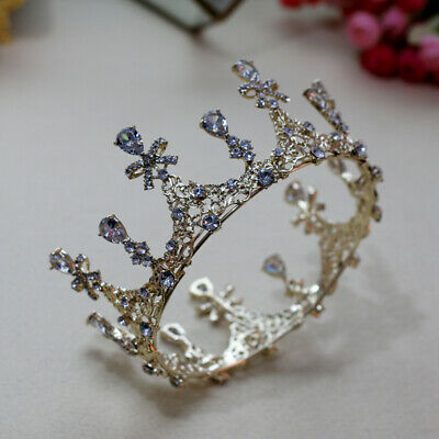 Drip CZ Crystal Round Crown Tiara Wedding Bridal Party Pageant Prom 2 Colors