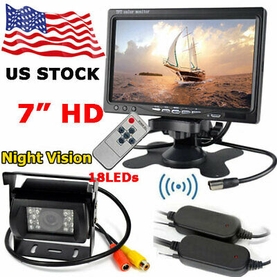 """Wireless IR Rear View Vehicle Backup Camera +7"""" HD LCD Monitor for Bus Truck RV"""