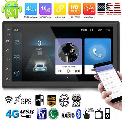 7'' Double 2Din Android 8.1 Car DAB+ Radio Stereo Quad Core MP5 Player GPS WiFi