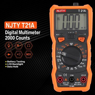 Digital Multimeter NJTY T21A DC/AC Volt Amp Ohm Diode NCV Mini Multitester XD