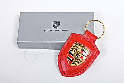 New Genuine Porsche Red Coloured Crested Leather Keyring Key Anello