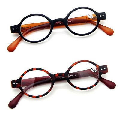 3a68cf61ce Designer Small round Oval Oblate Vintage Spring Hinge Reading Glasses +1 + 1.5 +2