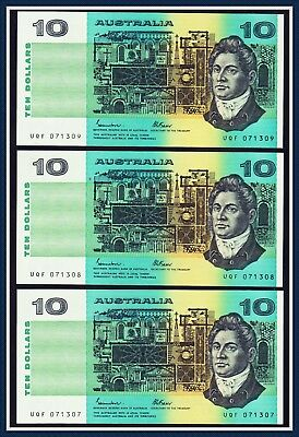 1985 Consecutive Trio $10 Paper Banknotes Johnston/Fraser UQF-071307/09 Unc.