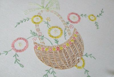 Vintage Tablecloth Hand Embroidered Baskets Flowers-Linen