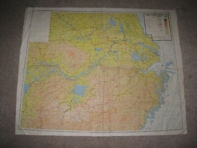 Superb Original Ww2 Royal Air Force Silk Escape Map,double Sided,