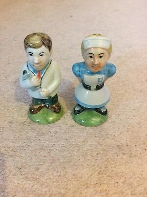 Pair Of Ceramic Doctor And Nurse Salt And Pepper Pots - Fantastic Condition