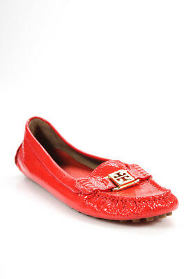 Tory Burch Womens Slip On Round Toe Loafers Flats Red Leather Size 9.5