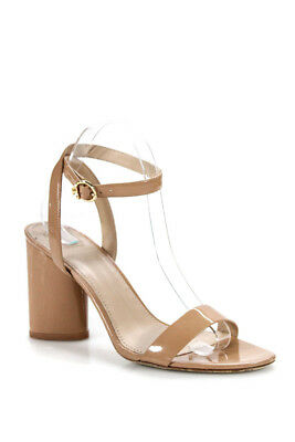 Tory Burch Womens Block Heel Ankle Strap Sandals Pink Patent Leather Size 8.5