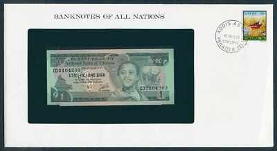 Ethiopia: 1976 1 Birr Banknote & Stamp Cover, Banknotes Of All Nations Series