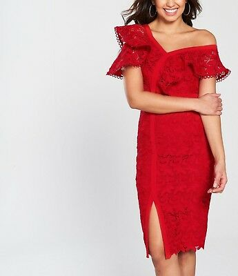V by Very Lace Frill Pencil Dress - RED - SIZE 8- RRP £105