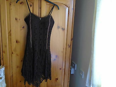 Gorgeous dark brown lined lace mini dress with padded bodice, NEW ONE, size 8