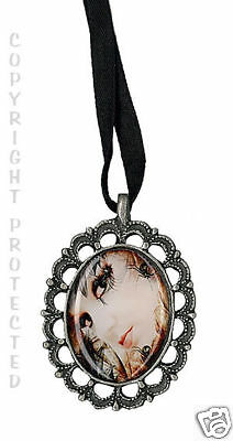 Pewter Cameo Necklace Spider Gothic Emo Lady Black New Pamela DelliColli cosplay