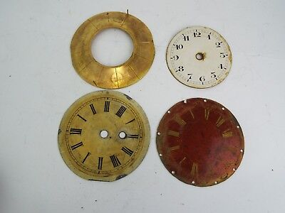 4 Steel  Clock Faces Vintage Antique Clockmaker Parts For Repair Victorian