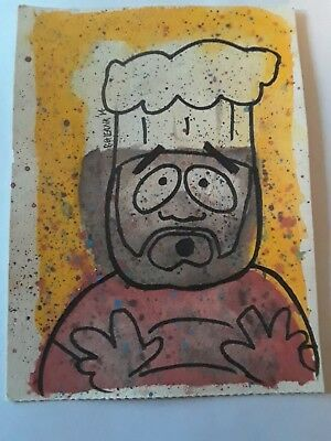 South Park Original Painting 2014 CHEF 5 x 7Signed by artist