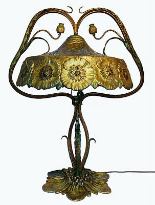 MUSEUM Art Nouveau POPPY Capsule LAMP ! 1900 Hand Crafted Whiplash Arts & Crafts