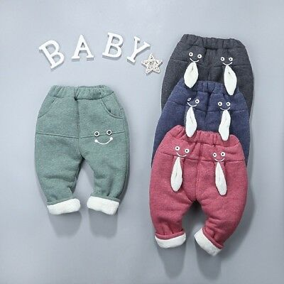 UK Toddler Girl Boys Cartoon Smile Rabbit Thick Warm Trousers Long Pants Clothes