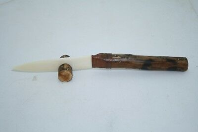 Wood handle knife with a bone blade...... v579...Ornamental, replica primitive t