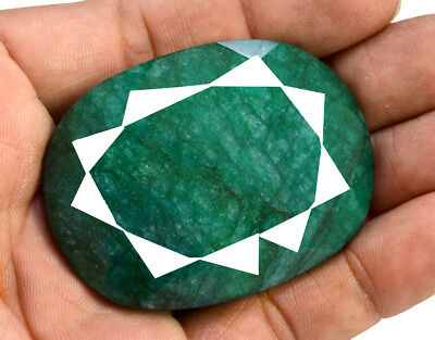 263ct Natural Faceted Oval Green Emerald Loose Gemstone for Pendant Jewelry