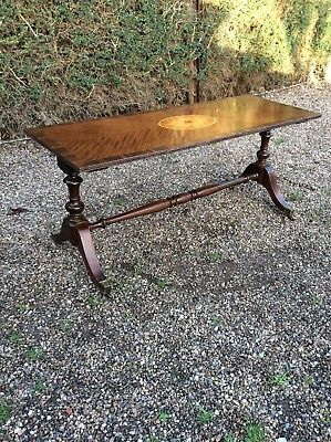Antique Long John Coffee Table Inlaid Mahogany And Walnut Brass Casters
