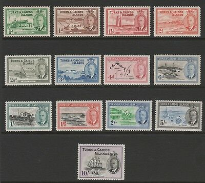 Turks and Caicos Islands 1950 GVI Complete set SG 221-233 Mnh.
