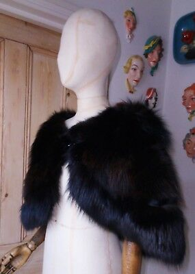 Pure 1940's Real Fur Vintage Black Art Deco Fox Cape Stole~Excellent Condition..