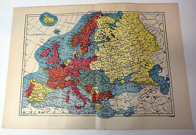 "1890s Antique ORIGINAL 15"" Map Europe View Russia Black Sea Spain Portugal"