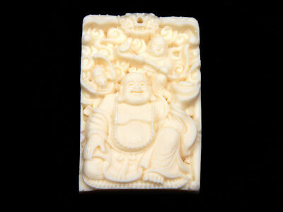 Solid Bone Detailed Hand Carved Pendant Laughing Buddha & Baby Boy #12111804